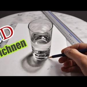 3D realistisch Zeichnen/Malen anamorph Glas (Illusionsmalerei)